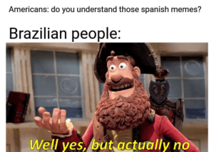 me_irl: Americans: do you understand those spanish memes?  Brazilian people:  Well yes, but actually no me_irl