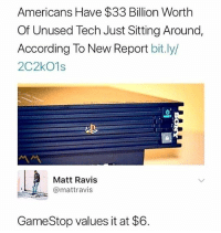 FUCK YOU, GAMESTOP. Crooks. Straight fucking crooks.: Americans Have $33 Billion Worth  Of Unused Tech Just Sitting Around,  According To New Report bit.ly/  2C2kO1s  ル  Matt Ravis  @mattravis  GameStop values it at $6 FUCK YOU, GAMESTOP. Crooks. Straight fucking crooks.