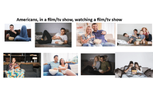Americans, in a film/tv show, watching a film/tv show: Americans, in a film/tv show, watching a film/tv show