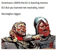 Lmao, Memes, and Norwegian: Americans: LMAO the EU is banning memes  EU: But you banned net neutrality, haha!  Norwegian niggas: