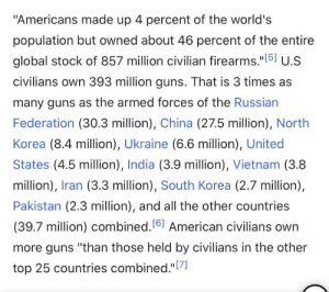 """Want to know why the US has never been invaded? Damn I love this country.: """"Americans made up 4 percent of the world's  population but owned about 46 percent of the entire  global stock of 857 million civilian firearms.""""[5] U.S  civilians own 393 million guns. That is 3 times as  many guns as the armed forces of the Russian  Federation (30.3 million), China (27.5 million), North  Korea (8.4 million), Ukraine (6.6 million), United  States (4.5 million), India (3.9 million), Vietnam (3.8  million), Iran (3.3 million), South Korea (2.7 million),  Pakistan (2.3 million), and all the other countries  (39.7 million) combined. 61 American civilians own  more guns """"than those held by civilians in the other  """"[7]  top 25 countries combined.""""