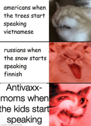 Dank, Memes, and Moms: americans when  the trees start  speaking  vietnamese  russians when  the snow starts  speaking  finnish  Antivaxx-  moms when  the  kids start  speaking  made with mematic If you see this, i can finally post here by SuperJumper33 MORE MEMES