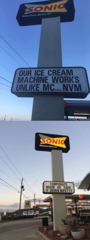 Petty, Shade, and Target: America's Drive-im  OUR ICE CREAM  MACHINE WORKS  UNLIKE MC... NVM   ONIC  America's Drive-in  CORPORATE  MADE US TAKE  IT DOWN#PETTY peqel: corporate shade