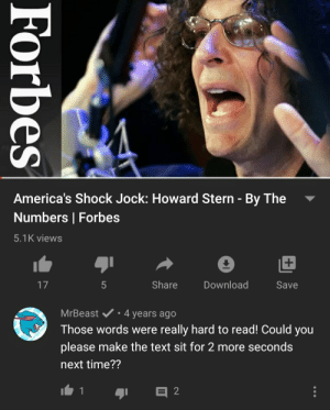 Nice: America's Shock Jock: Howard Stern - By The  Numbers | Forbes  5.1K views  17  Share  Download  Save  MrBeast v• 4 years ago  Those words were really hard to read! Could you  please make the text sit for 2 more seconds  next time??  Forbes Nice