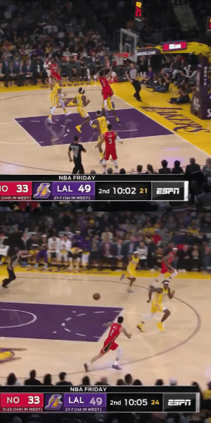 Lonzo Ball followed up his 27-PT Triple-Double with a team-high 23 PTS against his former Lakers team!   23 PTS (10-16 FG) 5 AST 27 PTS (7-12 3PT) 10 AST, 10 REB   https://t.co/31NrMQvGqw: AMERS.COM  kers  3  NBA FRIDAY  10 33  E (14th IN WEST)  LAL 49 2nd 10:02 21  ESPM  27-7 (1st IN WEST)   NBA FRIDAY  NO 33  LAL 49 2nd 10:05 24  ESPN  27-7 (1st IN WEST)  11-23 (14th IN WEST) Lonzo Ball followed up his 27-PT Triple-Double with a team-high 23 PTS against his former Lakers team!   23 PTS (10-16 FG) 5 AST 27 PTS (7-12 3PT) 10 AST, 10 REB   https://t.co/31NrMQvGqw