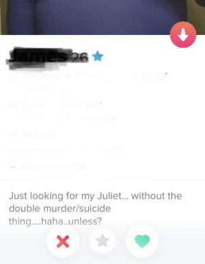 Finally, a bio that grabbed my attention: ames26  and  Just looking for my Juliet... without the  double murder/suicide  thing....haha.unless?  X Finally, a bio that grabbed my attention