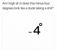 Af, Dude, and Memes: AmI high af or does this minus four  degrees look like a dude taking a shit?  4 @weedlaughs420