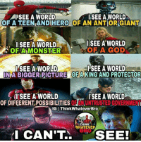"""Memes, 🤖, and Mcu: AMI SEE A WORLD  SEE A WORLD  OFATEENKAND HERO OF AN ANTIORGIANT  I SEE A WORLD  I SEE A WORLD  OF A GOD  OF A MONSTER  SEE A WORLD  SEE A WORLD  INA BIGGER PICTURE OF A KING AND PROTECTOR  I SEE A WORLD  I SEE A WORLD  UNTRUSTED GOVERNMEN  OF DIFFERENT POSSIBILITIES ORAN  IGIThinkWhateverBro  THINK  WHATEVER  I CAN'T  SEE! Credit: """"thinkwhateverbro"""" 