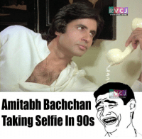 He was the first Indian.: Amitabh Bachchan  Taking Selfie In 90s  VC J  WWW, RVC J.COM  C J  COM He was the first Indian.