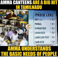 Indianpeoplefacebook, Curry, and Rice: AMMA CANTEENS  ARE A BIG HIT  IN TAMILNADU  PRICE LIST  PONGAL  2.5l  SAMBAR RICE  LEMON RICE  5/-  CURRY LEAF RICE .5l.  CURD RICE  R.3l  laughin  colours.com  AMMAUNDERSTANDS  THE BASIC NEEDS OF PEOPLE Kindness Be Like...