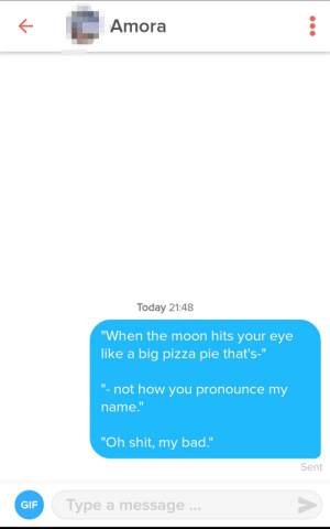 "Bad, Gif, and Pizza: Amora  Today 21:48  ""When the moon hits your eye  like a big pizza pie that's-""  ""- not how you pronounce my  name.""  ""Oh shit, my bad.""  Sent  Type a message  GIF I'm sorry but I deserve a medal for this opening line"