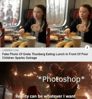 Wonderful: Ampar  i  LADBIBLE.COM  Fake Photo Of Greta Thunberg Eating Lunch In Front Of Poor  Children Sparks Outrage  *Photoshop*  Reality can be whatever I want Wonderful