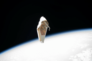 "space-pics:  ""A debris shield that was removed"" 15 Nov 2019 from the International Space Station's Alpha Magnetic Spectrometer (AMS) drifts away. ""The debris shield was detached by the spacewalkers so they could access and begin the repairs of the AMS thermal control system."" Photo date: 15 Nov 2019 [5568x3712]: AMS-02 space-pics:  ""A debris shield that was removed"" 15 Nov 2019 from the International Space Station's Alpha Magnetic Spectrometer (AMS) drifts away. ""The debris shield was detached by the spacewalkers so they could access and begin the repairs of the AMS thermal control system."" Photo date: 15 Nov 2019 [5568x3712]"