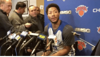 """Family Matters, Memes, and Wshh: AMSG  CH NewYorkKnicks' DerrickRose speaks with reporters today about not being able to show up to last nights game against the NewOrleansPelicans due to a family matter. Rose says that """"I had to be with my family"""" and goes on further to say he did have to travel to Chicago. 🙏 (Via: DanielPopper-Twitter) WSHH"""