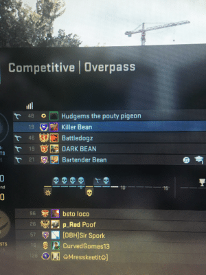 Me and the boys playing csgo with our character appropriate weapons: AMUBY  Competitive Overpass  ll  Hudgems the pouty pigeon  48  19 Killer Bean  Battledogz  46  EEDARK BEAN  19  TS  Bartender Bean  21  nd  15  beto loco  P p Red Poof  (DBHISir Spork  96  26  67  STS  e CurvedGomes13  128  Mresskeetit] Me and the boys playing csgo with our character appropriate weapons