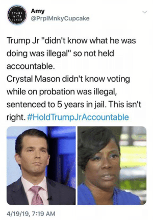 """(S): Amy  @PrplMnkyCupcake  STAND  WIT  ILHAN  Trump Jr """"didn't know what he was  doing was illegal"""" so not held  accountable.  Crystal Mason didn't know voting  while on probation was illegal,  sentenced to 5 years in jail. This isn't  right. #HoldTrumpJrAccountable  4/19/19, 7:19 AM (S)"""