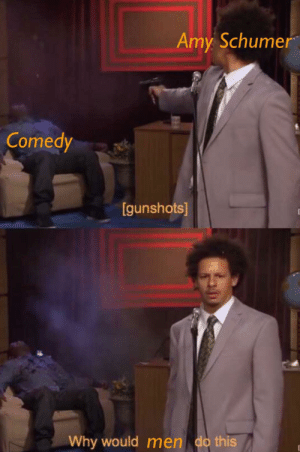 Amy Schumer, Comedy, and Amirite: Amy Schumer  Comedy  gunshots  Why would men do this OC Maymay ♨Fuck men amirite (i.redd.it)