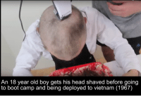 Head Shaving: An 18 year old boy gets his head shaved before going  to boot camp and being deployed to vietnam (1967)