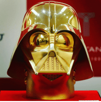 Darth Vader, Life, and Memes: AN 28 APR: Japanese jeweller Ginza Tanaka has unveiled a life size 24-carat gold Darth Vader mask. It has been valued at £1.1m ($1.4m) and will go on sale on Star Wars Day, May the fourth. PHOTO: Aflo-REX-Shutterstock BBCSnapshot photography StarWars Maythefourth DarthVader Vader gold