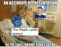 Freddy Anderson keeping the leafs alive once again. We will have 7: AN ACCURATE REPRESENTATION  I got u bby  TORONTO  The Maple Leafs  seasorn  @nhl_ref_logic  OFTHE LEAFS/BRUINS SERIES SO FAR Freddy Anderson keeping the leafs alive once again. We will have 7