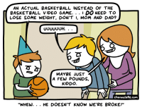 """Basketball, Dad, and Video: AN ACTUAL BASKETBALL INSTEAD OF THE  BASKETBALL VIDEO 6AME. . . 1 DO NEED TO  LOSE SOME WEIGHT, DON'T I, MOM AND DAD?  MAYBE JUST  A FEW POUNDS,  KIDDO  channelate.com  """"WHEW. . . HE DOESN'T KNOW WE'RE BROKE!"""""""