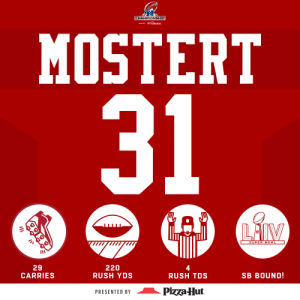 An all-time #NFLPlayoffs performance by Raheem Mostert! #HaveADay #NFLPlayoffs  @RMos_8Ball | #GoNiners  (by @pizzahut) https://t.co/sXY0MaUcj1: An all-time #NFLPlayoffs performance by Raheem Mostert! #HaveADay #NFLPlayoffs  @RMos_8Ball | #GoNiners  (by @pizzahut) https://t.co/sXY0MaUcj1