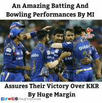 #MIvKKR: An Amazing Batting And  Bowling Performances By MI  AUGHING  goi  9  bib  SAM  Assures Their Victory Over KKR  By Huge Margin #MIvKKR