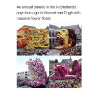 Memes, Vans, and Vincent Van Gogh: An annual parade in the Netherlands  pays homage to Vincent van Gogh with  massive flower floats someone asked me to put my thiscrush back in my bio so i did, go comment😂
