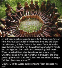 "Run, Game, and Happy: An anthropologist proposed a game to the kids in an African  tribe. He put a basket full of fruit near a tree and told them  that whoever got there first won the sweet fruits. When he  gave them the signal to run they all took each other's hands  and ran together, then sat in a circle enjoying their treats.  When he asked them why they chose to run as a group  when they could have had more fruit individually, one child  spoke up and said: ""UBUNTU, how can one of us be happy  if all the other ones are sad?""  UBUNTU' in the Xhosa culture means: I am because we  are"" UBUNTU!"