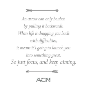 America, Life, and Lol: An arrow can only be shot  by pulling it backwards  When life is dragging you back  with difficulties,  it means it's going to launch you  into something great.  So just focus, and keep aiming  ACN lol-coaster:    ACN is the largest direct selling telecommunications and essential services provider in the world. ACN Inc. was founded in 1993 by four entrepreneurs and is now operating in 25 countries spanning North America, Europe, Asia and the Pacific. ACN offers essential products and services that people use every day, while also offering a powerful business ownership opportunity for entrepreneurs. http://nrankine.acndirect.com