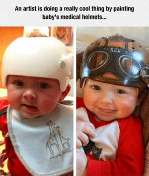 Tumblr, Blog, and Cool: An artist is doing a really cool thing by painting  baby's medical helmets... srsfunny:Baby Medical Helmets