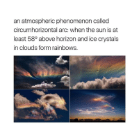 Phenomenon, Sun, and Arc: an atmospheric phenomenon called  circumhorizontal arc: when the sun is at  least 580 above horizon and ice crystals  in clouds form rainbows.