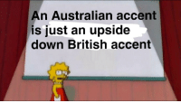 British, Australian, and Down: An Australian accent  is just an upside  down British accent