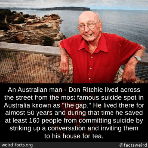 "Facts, The Gap, and Weird: An Australian man Don Ritchie lived across  the street from the most famous suicide spot in  Australia known as ""the gap."" He lived there for  almost 50 years and during that time he saved  at least 160 people from committing suicide by  striking up a conversation and inviting them  to his house for tea.  weird-facts.org  @factsweird Such an amazing person"
