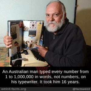 Facts, Memes, and Weird: An Australian man typed every number from  1 to 1,000,000 in words, not numbers, on  his typewriter. It took him 16 years  weird-facts.org  @factsweird