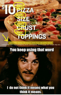 stuffed crust pizza: AN de  ZA  ANY  ANY  ST  IUPPINGS  You keep using that word  ANY  ADDITIONAL CHARGE FOR STUFFED CRUST PIZZA AND EXTRA CHEESE  Limited Time Offer. Crustavaitability, prices, participation, delivery areas and charges may vary  I do not think it means what you  think itmeans.