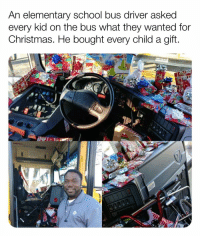 "Christmas, God, and Love: An elementary school bus driver asked  every kid on the bus what they wanted for  Christmas. He bought every child a gift His name is Curtis Jenkins! ""We talked about the things that they would want and I made a mental note of it and wrote it down."" Curtis originally planned to host a gift exchange. When his wife pointed out some kids may not be able to bring a gift, the Jenkins decided to buy presents with their own money. Curtis set aside a little money from each paycheck to buy puzzles, games and small electronics. ""Seeing the faces of those kids was more than anything that I could ever do with the money."" Jenkins said his work is his calling and he hoped to show each child they have value and are loved. ""I'm not at a job, I'm on a mission from God. I don't say anything about religion to the kids. I just let them know whatever they love is fine with me, just love somebody on the way."" (Via: -gangbangkang - Reddit)"
