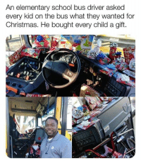 "Christmas, God, and Love: An elementary school bus driver asked  every kid on the bus what they wanted for  Christmas. He bought every child a gift. His name is Curtis Jenkins!  A bus driver in Dallas got mistaken for #SantaClaus.  Students walked onto his bus to see that it had been filled with the presents that they wanted for #Christmas.  Curtis said ""We talked about the things that they would want and I made a mental note of it and wrote it down."" Curtis originally planned to host a gift exchange. When his wife pointed out some kids may not be able to bring a gift, the Jenkins decided to buy presents with their own money. Curtis set aside a little money from each paycheck to buy puzzles, games and small electronics. ""Seeing the faces of those kids was more than anything that I could ever do with the money."" Jenkins said his work is his calling and he hoped to show each child they have value and are loved. ""I'm not at a job, I'm on a mission from God. I don't say anything about religion to the kids. I just let them know whatever they love is fine with me, just love somebody on the way."" 🙏 💯 #MerryChristmas @worldstar #WSHH"