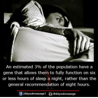 Memes, The General, and Sleep: An estimated 3% of the population have a  gene that allows them to fully function on six  or less hours of sleep a night, rather than the  general recommendation of eight hours.  団/d.dyouknowpagel  @didyouknowpage