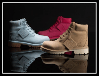"""Memes, Timberland, and Iconic: An icon dressed up specifically for kids. Get into the """"Pastel"""" Timberland pack now at Champs in GS sizing!"""