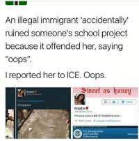 "Memes, School, and West Coast: An illegal immigrant accidentally  ruined someone's school project  because it offended her, saying  ""oops  I reported her to ICE. Oops.  Slueet as honey  Brigitte  Follow  Brigitte  GBrigitteYasamin  Princesa Azteca  H IG: BrigitteYasamin  9 West coast 5 paypal melBYasamin  US Immigration  and Customs  Report Crimes  Enforcement PART 2 TO THE LAST POST"