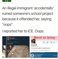 """Memes, School, and West Coast: An illegal immigrant accidentally""""  ruined someone's school project  because it offended her, saying  oops'  l reported her to ICE. Oops.  Brigitte  M Follow  Brigitte U  PBrigitteYasamin  Princesa Azteca  H IG: BrigitteYasamin.:  West coast 6 paypal.me/BYasamin  US Immigration  and Customs  Repot Comes  Enforcement"""