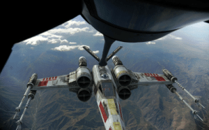 Run, X-Wing, and Storm: An Incom T-85 X-wing refueling after an attack run on Baghdad during Operation Desert Storm (1990, colorized)