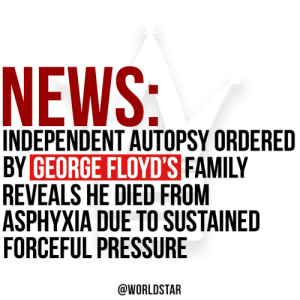 "An independent autopsy ordered by #GeorgeFloyd's family revealed that Floyd died of ""asphyxia due to neck and back compression that led to a lack of blood flow to the brain,"" says @ABC. Therefore, Floyd's death has been ruled a homicide. Our thoughts & prayers are with his family https://t.co/qyq2D344La: An independent autopsy ordered by #GeorgeFloyd's family revealed that Floyd died of ""asphyxia due to neck and back compression that led to a lack of blood flow to the brain,"" says @ABC. Therefore, Floyd's death has been ruled a homicide. Our thoughts & prayers are with his family https://t.co/qyq2D344La"