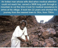 This Man Deserves Unlimited Rts: An Indian man whose wife died when medical attention  could not reach her, carved a 360ft long path through a  mountain to cut the time it took for medical assistance to  arrive at his village. It took him 22 years and shorted the  journey from the nearest town to 1Km, from 75Km This Man Deserves Unlimited Rts