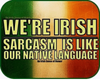 Irish: An Irish Sense Hinian  WERE IRISH  SARCASM IS LIKE  OUR NATIVE LANGUAGE  of