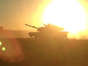 """An M-1 Abrams from the US Army 37th Armor Regiment advances on Tehran during the last stand of the Iranian Army, in the background a low yield nuclear detonation can be seen. """"2020"""": An M-1 Abrams from the US Army 37th Armor Regiment advances on Tehran during the last stand of the Iranian Army, in the background a low yield nuclear detonation can be seen. """"2020"""""""