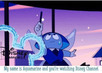 this😂 {by mutant-unicorn} stevenuniverse aquamarine cartoonnetwork: AN  My name is Aquamarine and you're watching Disney Channel this😂 {by mutant-unicorn} stevenuniverse aquamarine cartoonnetwork
