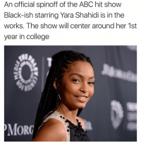 Abc, Memes, and 🤖: An official spinoff of the ABC hit show  Black-ish starring Yara Shahidi is in the  works. The show will center around her 1st  year in college  MOR