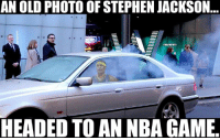 How Captain Jack rolls.: AN OLD PHOTO OF STEPHEN JACKSON  aKBAMEMES  HEADED TO AN NBA GAME How Captain Jack rolls.